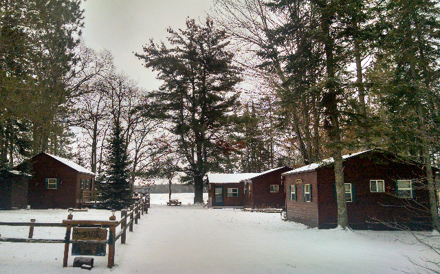 Winter picture of this awesome 4-cabin property on Blueberry Lake